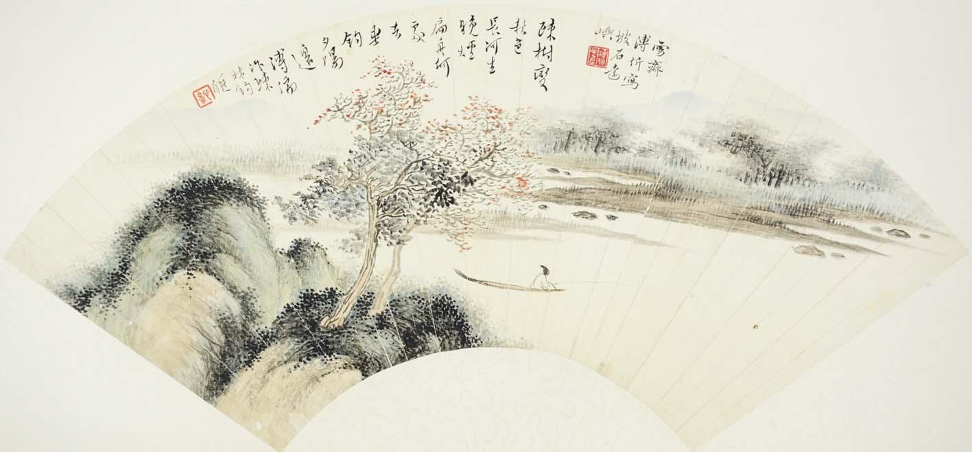 溥儒字画作品书画收藏欣赏pr 枫林钓艇_北京字画网图片